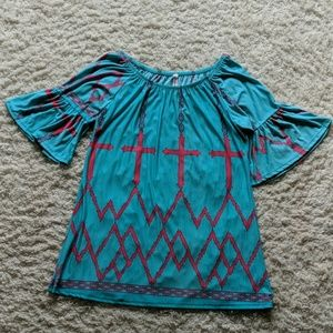 Yahada Teal and Pink Off the Shoulder Dress